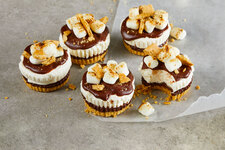No-Bake Mini S'mores Cheesecakes