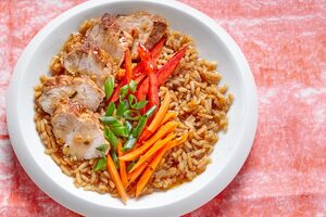 Tea-Infused Rice Bowl with Pork Tenderloin