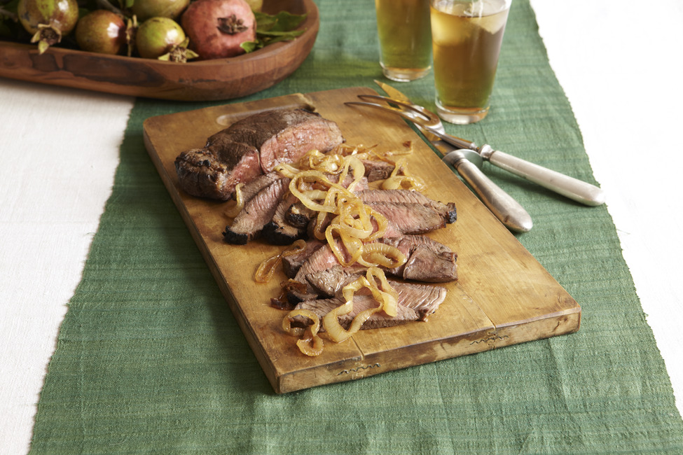 Marinated Steak and Caramelized Onions
