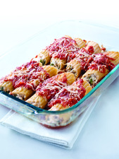 Spinach and Triple-Cheese Stuffed Manicotti