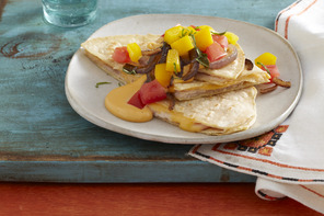 Stacked Turkey Quesadillas with Cheese Sauce
