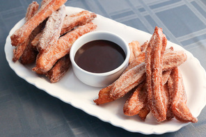 Churros with Chocolate-Caramel Dipping Sauce