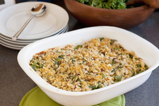 Cheesy Green Bean Casserole with Almond Topping