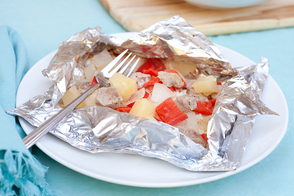 "Quick Hawaiian Pork ""Kabob"" Foil Packages"