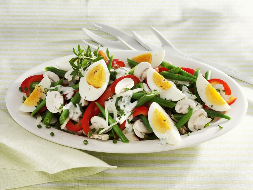 Colorful Bean, Egg & Mushroom Salad