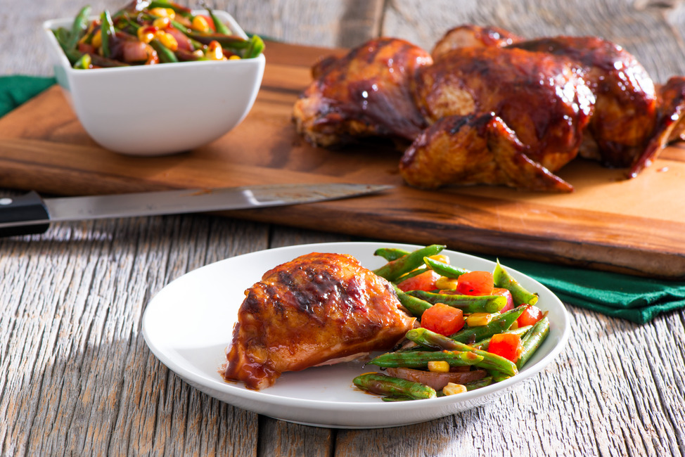 Spatchcock BBQ Chicken with Grilled Green Bean Salad