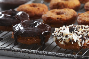 Chocolate-Glazed Chocolate Chunk Donuts