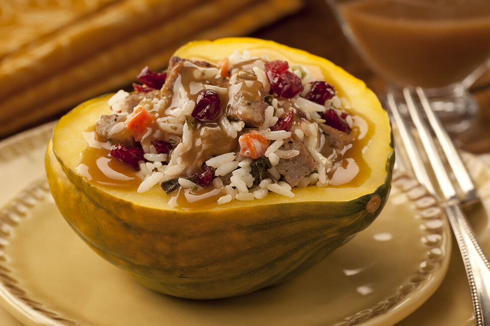 Stuffed Acorn Squash with Rice and Gravy