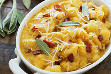 Pumpkin Gnocchi with Bacon and Sage Sauce