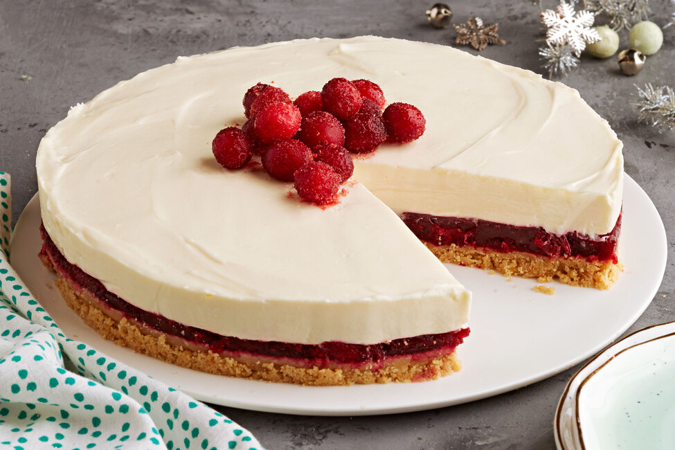 No-Bake White Chocolate Cheesecake with Cranberry