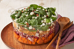 Layered Sweet Potato and Spinach Salad