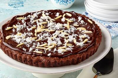 Almond, Coconut and Chocolate Brownie Tart