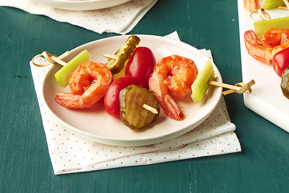 Bloody Mary Shrimp Skewers