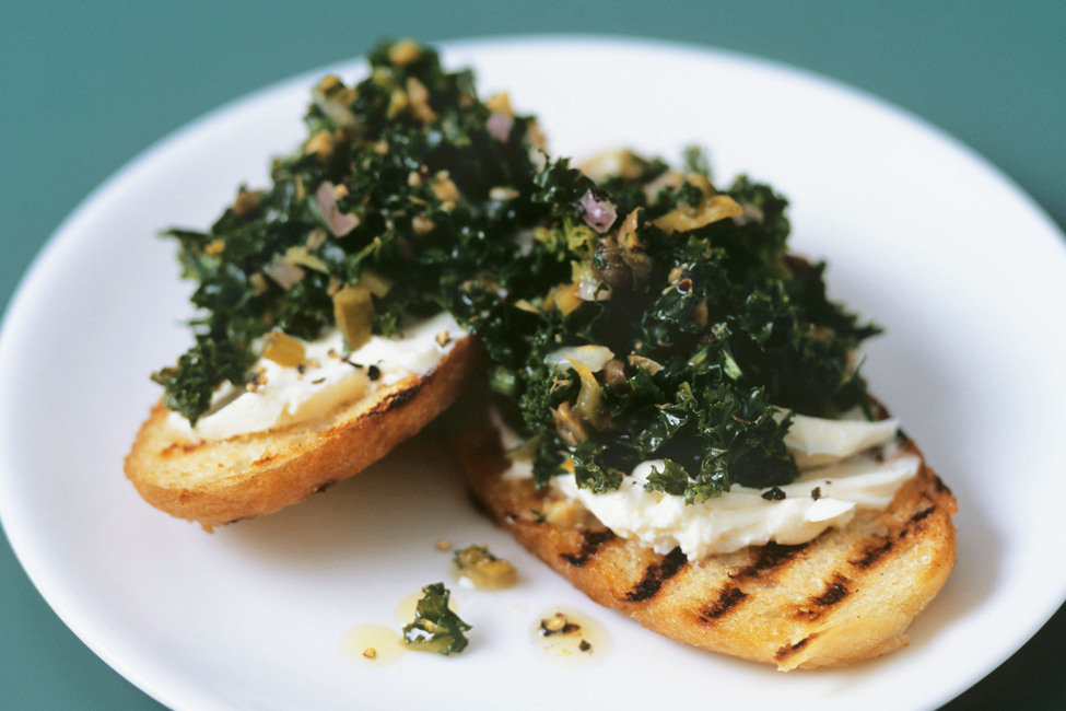 Garlic, Kale and Cheese Crostini