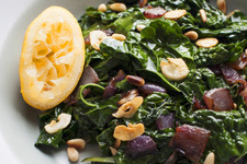 Kale with Caramelized Onions and Pine Nuts