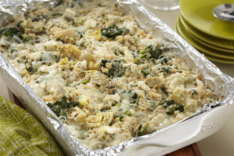 Make-Ahead Spinach-Artichoke Quinoa Bake