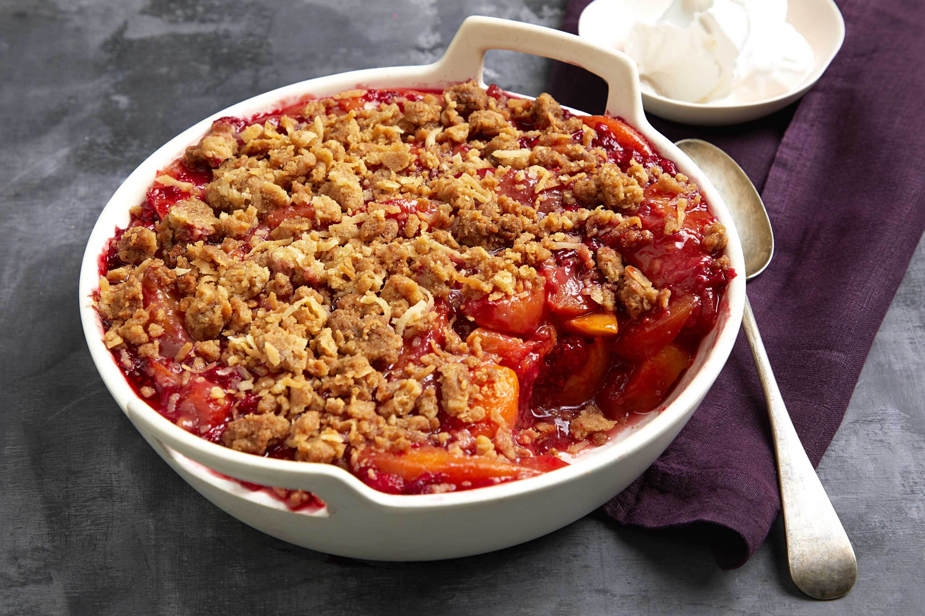 Quick Peach-Raspberry Crisp