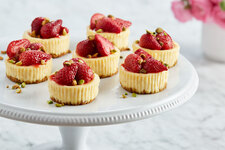 Roasted Strawberry-Pistachio Mini Cheesecakes