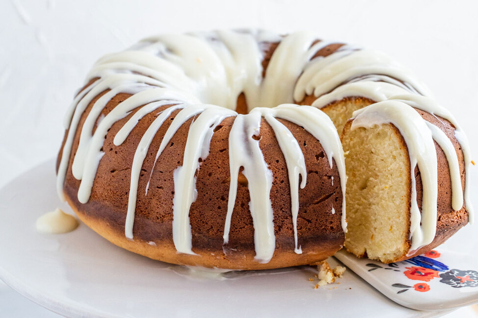 Meyer Lemon Pound Cake with Cream Cheese Glaze