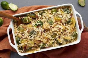 Cracker-Topped Brussels Sprouts & Bacon Casserole