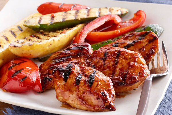 Orange Bbq Chicken With Grilled Vegetables My Food And Family