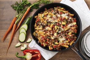 Cheesy Ground Beef & Pasta Skillet