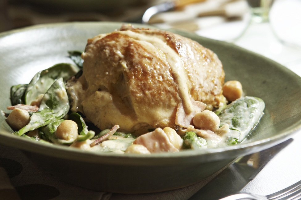 Creamy Chicken with Spinach and Chickpeas