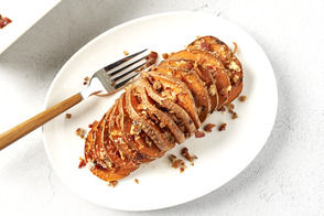 Savory Hasselback Sweet Potatoes with Bacon