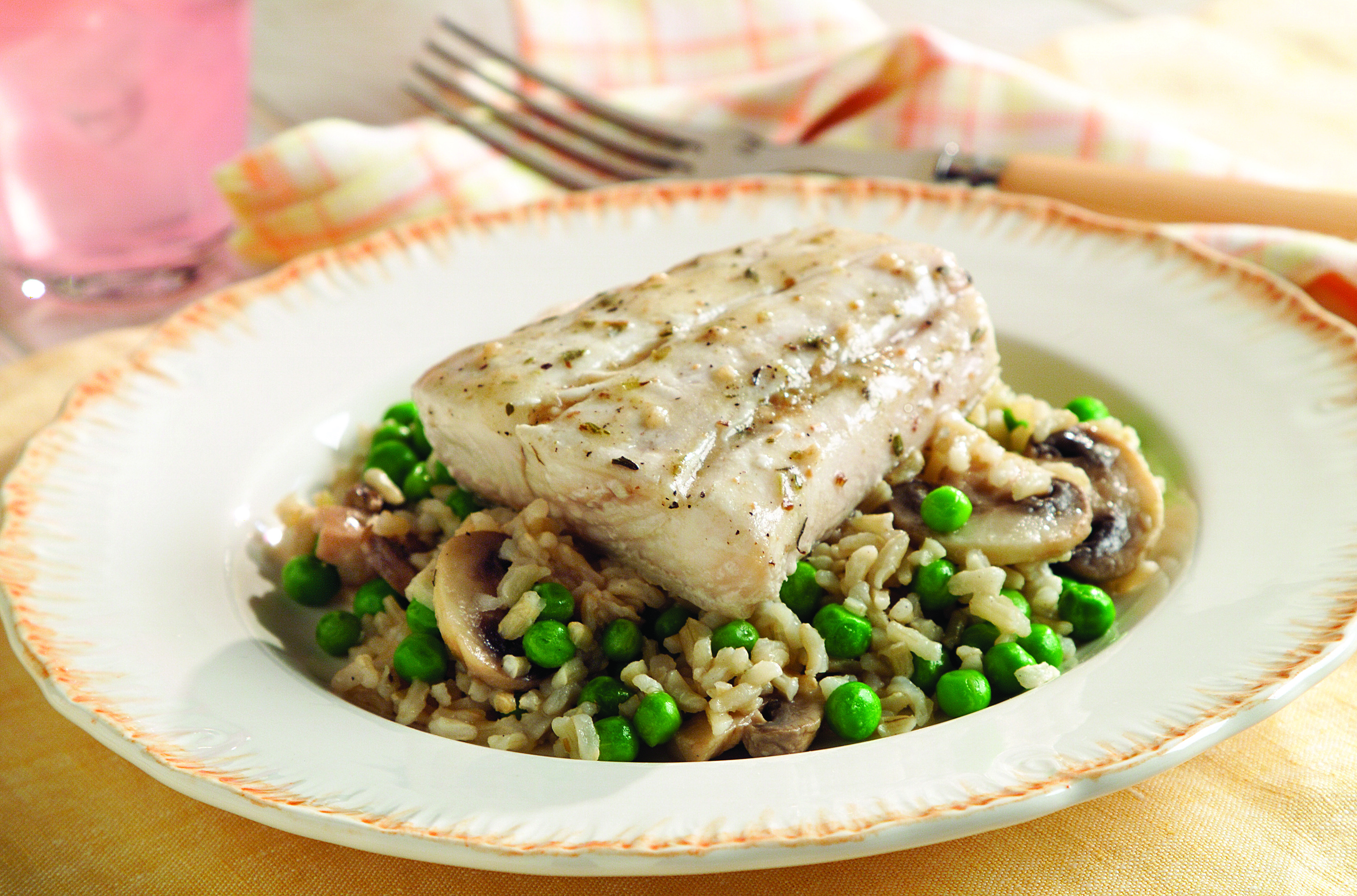 Mediterranean Halibut with Mushroom Rice Pilaf