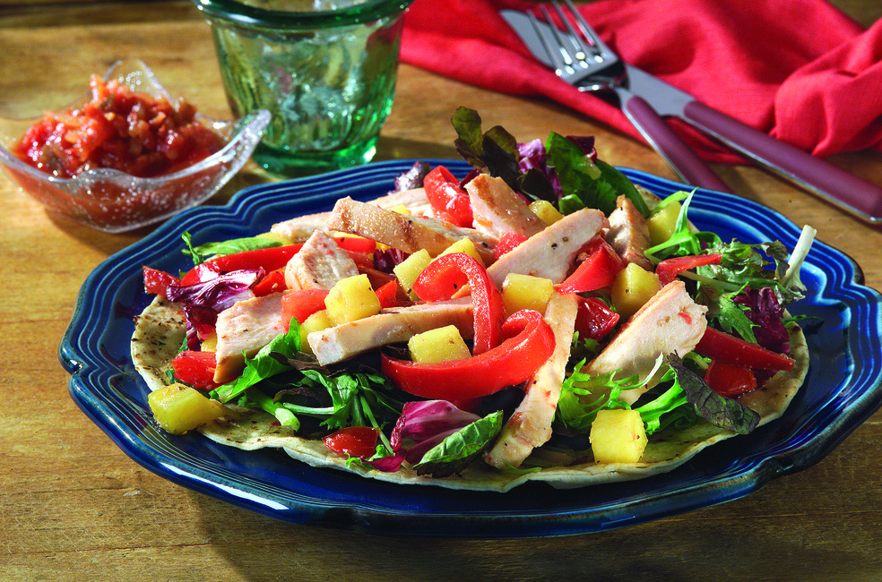 Grilled Chicken Salad on Crispy Tortillas