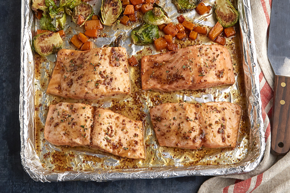 One-Pan Roasted Salmon and Squash