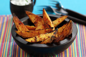 Roasted Sweet Potato Wedges with Chive Mayo