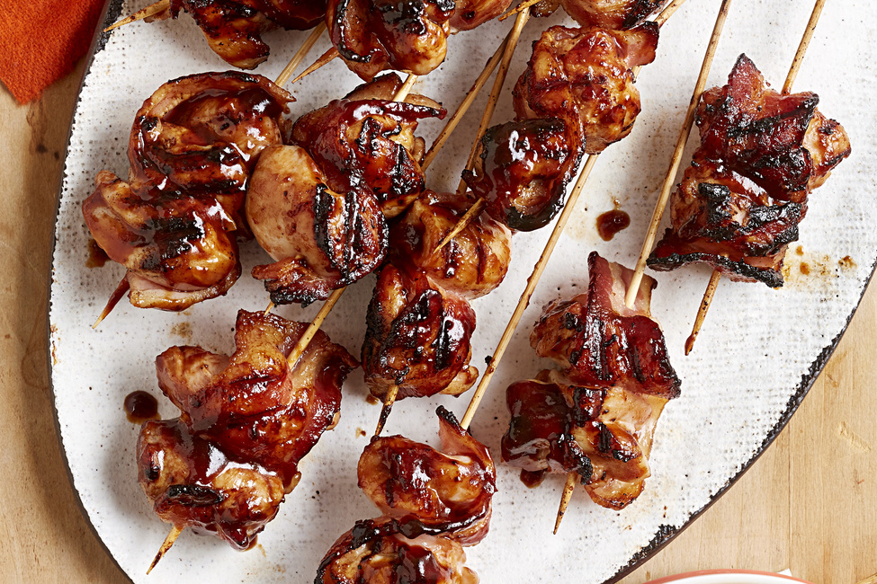 BBQ Chicken and Bacon Skewers