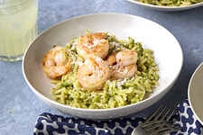 Pesto Orzo with Shrimp