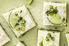 No-Bake Pistachio, Lime & Coconut Cheesecake Squares