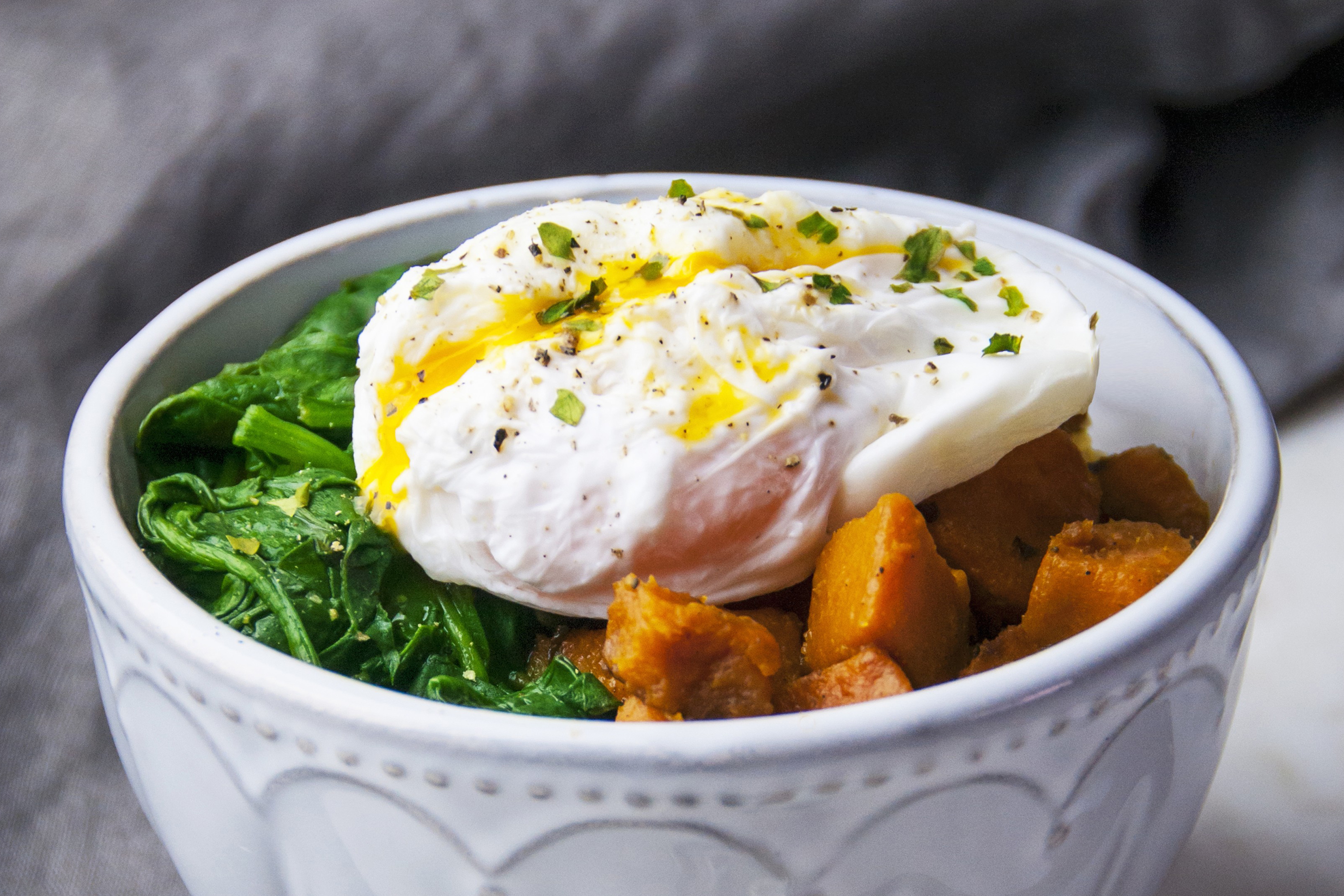 Poached Egg, Greens and Sweet Potato Bowl