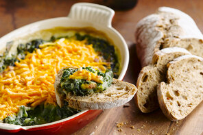 Three-Cheese Baked Spinach and Artichoke Dip