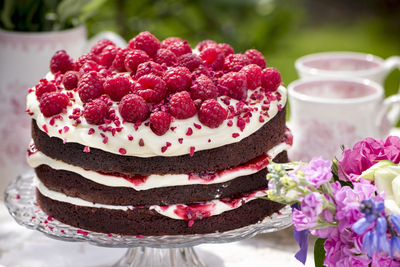 Chocolate Raspberry Layer Cake with Cream Cheese Frosting