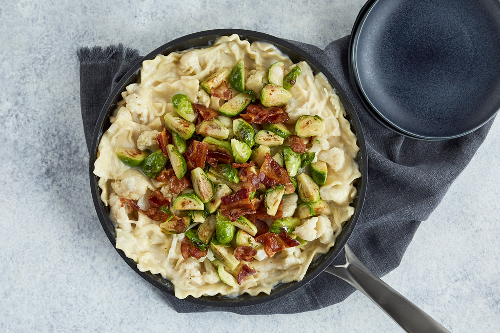 Skillet Alfredo Lasagna with Crispy Bacon & Brussels Sprouts