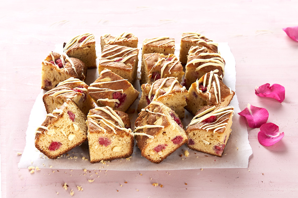 White Chocolate, Raspberry and Rose Water Squares