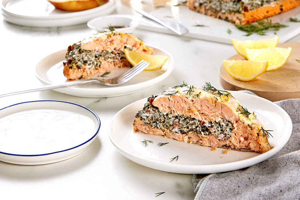 Creamed Spinach-Stuffed Salmon