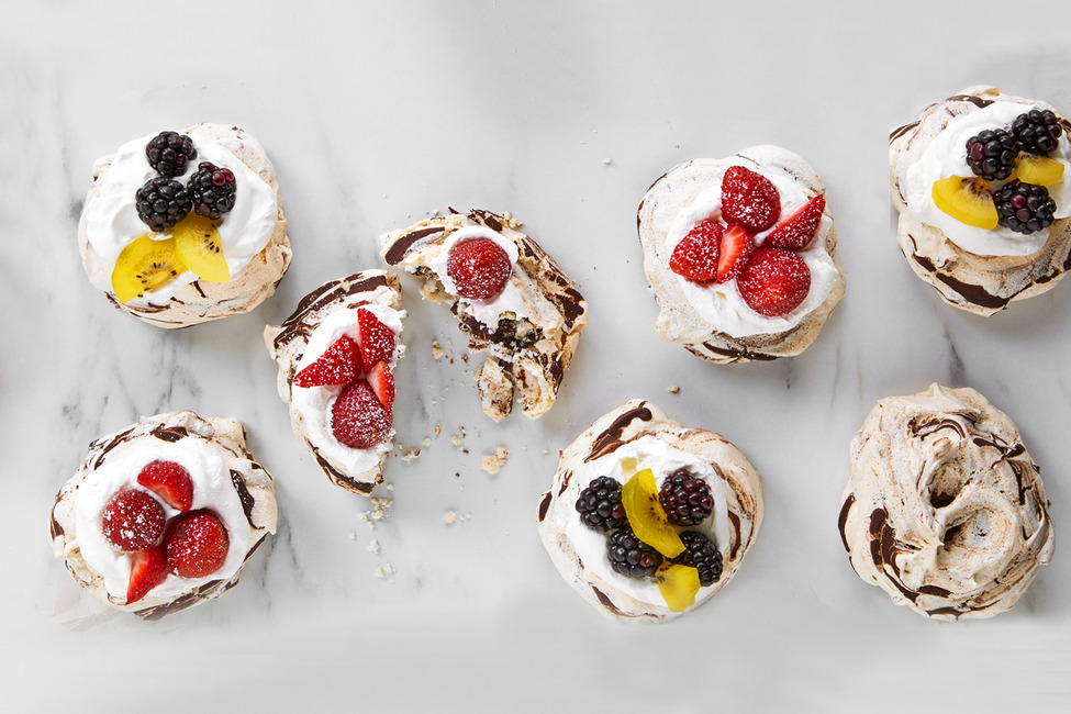 Chocolate-Swirled Mini Pavlova