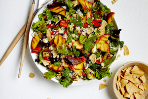 Grilled Peach, Pepper and Zucchini Salad