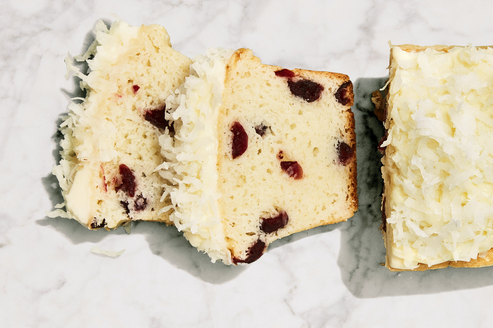 Easy Cranberry Quick Bread with Coconut-Topped Cream Cheese Frosting