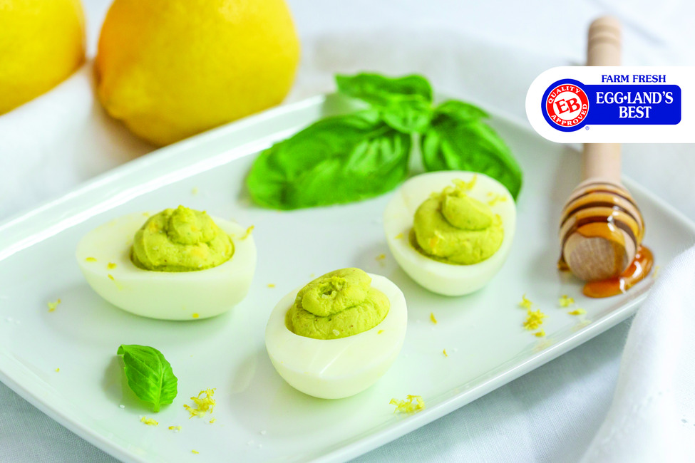 Lemon, Honey & Fresh Basil Deviled Eggs