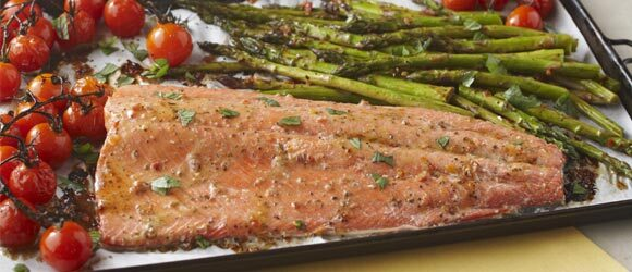 One-Pan Roasted Salmon Supper