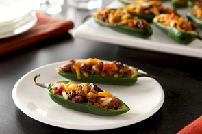 Chili and Cheese Stuffed Jalapeño Peppers