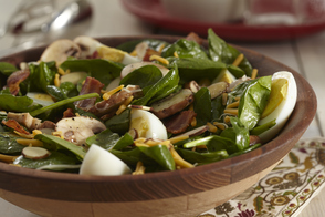 Hot Spinach Salad with Honey-Dijon Dressing