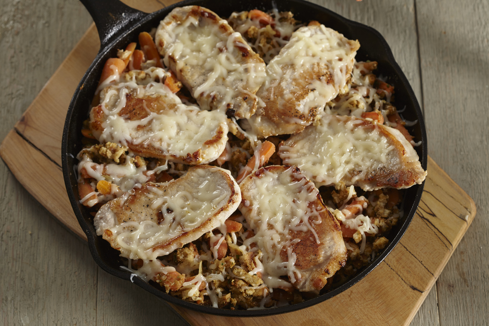 STOVE TOP Pork Chop & Carrot Stuffing Skillet