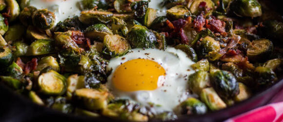 Bacon Egg Shallot Brussel Sprouts